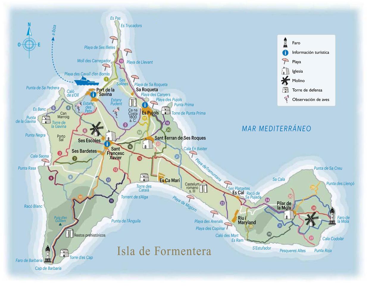 Mapa de rutas de isla de Formentera (click para ampliar). Mapa: Salvador Prior