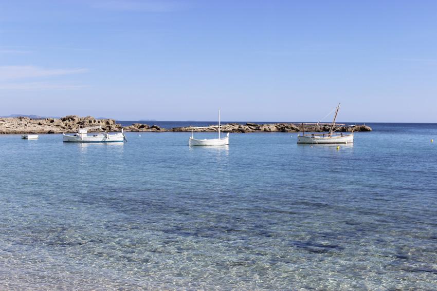 Unos barcos tradicionales de Formentera, llaüts, fondean en Es Pujols