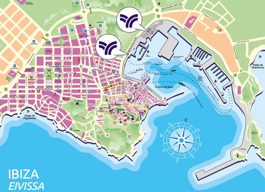 El símbolo indica el lugar de la estación marítima en el Puerto de Ibiza.